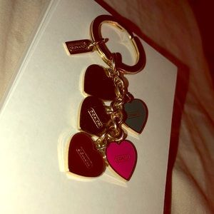 coach multi color heart and gold keychain!